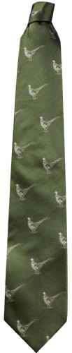 Bisley Silk Tie - Green Pheasants (JR-BIT17)